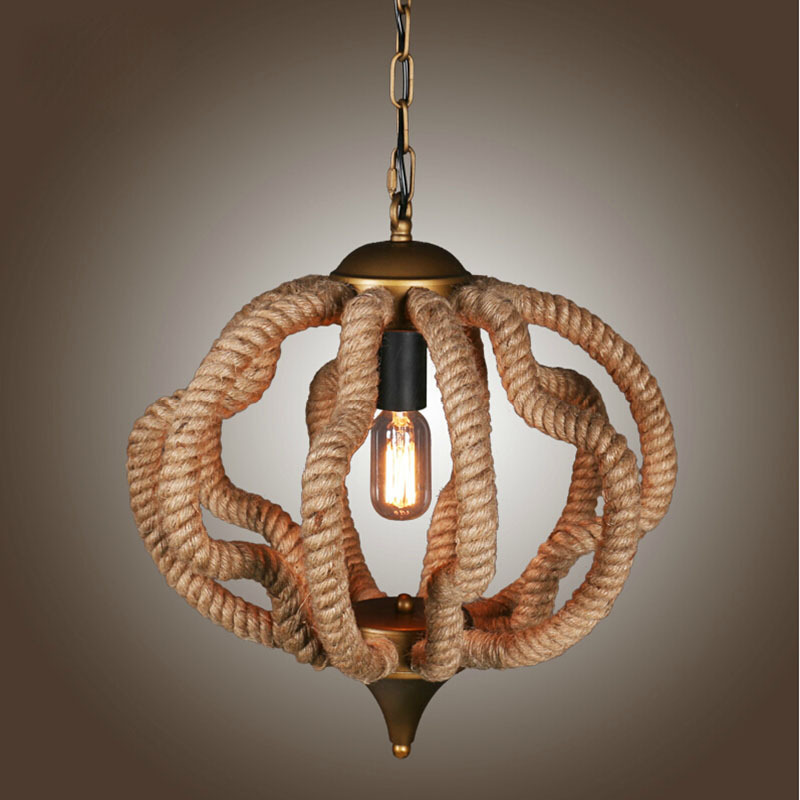 Lighting American Village designer hemp chandelier living room restaurant hot of industrial imitation copper lamps Chandelier(China (Mainland))
