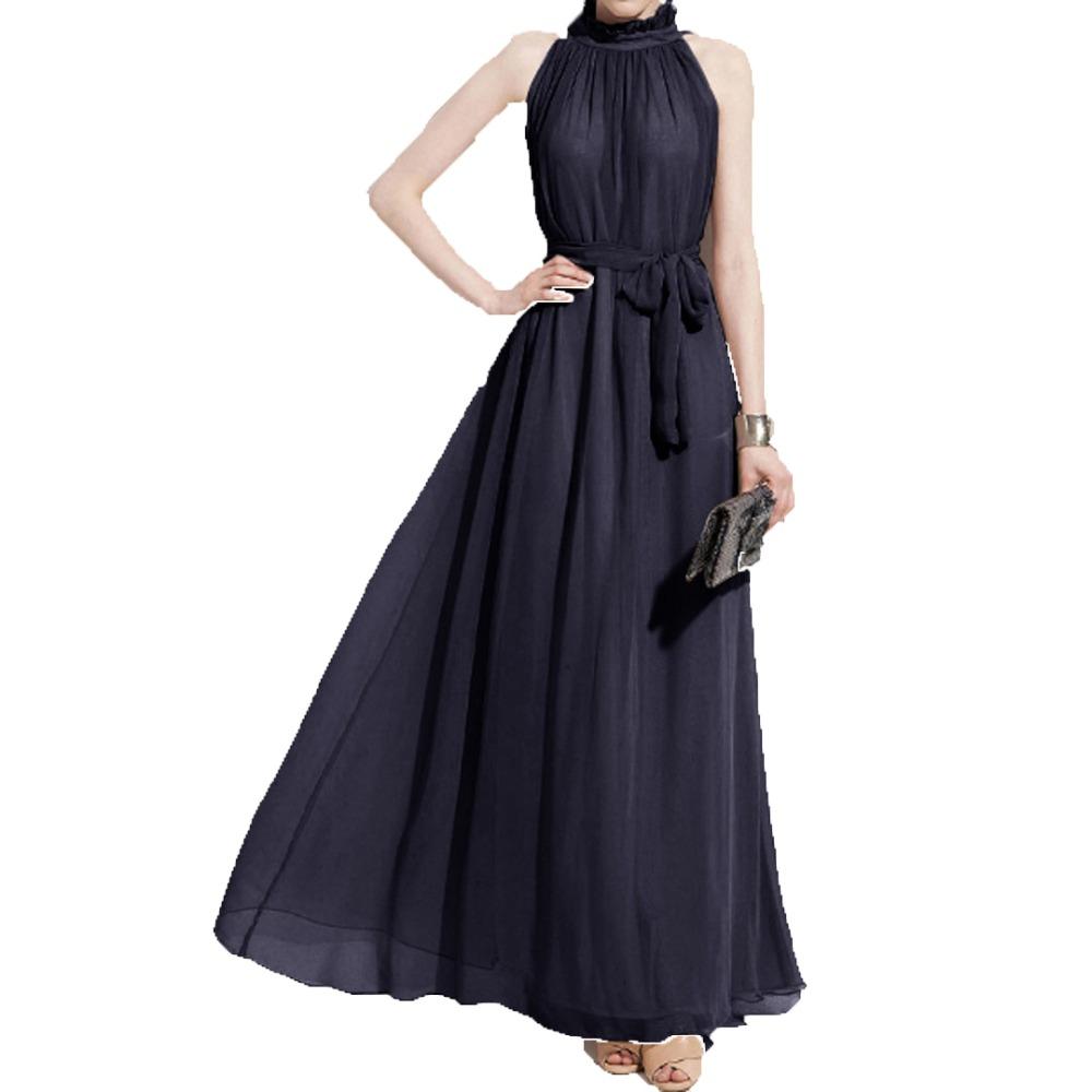 2016 Spring Sexy Women Halter Maxi Chiffon Dress with ...