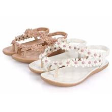 Women Sandals 2015 Open Toe Summer Style Ladies Shoes Women Beach Flip Flops Flowers Solid Gladiator Sandals Women Shoes(China (Mainland))