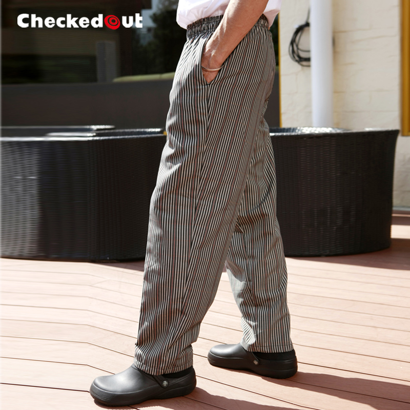 Free Shipping Cook pants checkedout work pants cheapest chef pants Coffee lines cook trousers(China (Mainland))