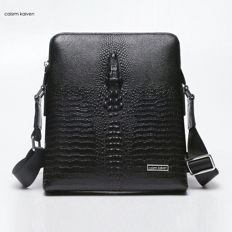 Free shipping, 2015 new business casual leather bag man bag briefcase first designer leather crocodile pattern Messenger Bag(China (Mainland))
