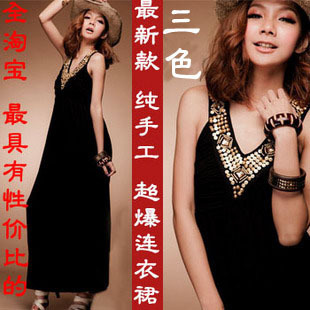 Summer casual long design one-piece dress fashion bohemia ultra long skirt
