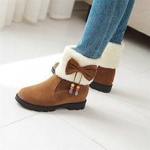 Bonjomarisa Mới Big Size 33-43 Ủng 2020 Bowtie Chống Trơn Trượt Giày Đế Người Phụ Nữ Nữ mùa Đông Cổ Chân Giày Đen(China)