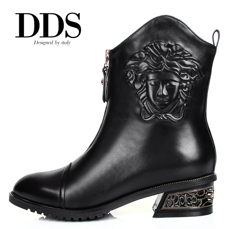 Гаджет  DDS Vintage Punk Style Genuine Leather Pointed Toe Women Western Boots Ankle Cowboy Boots With Embossed Size 34-42 None Обувь
