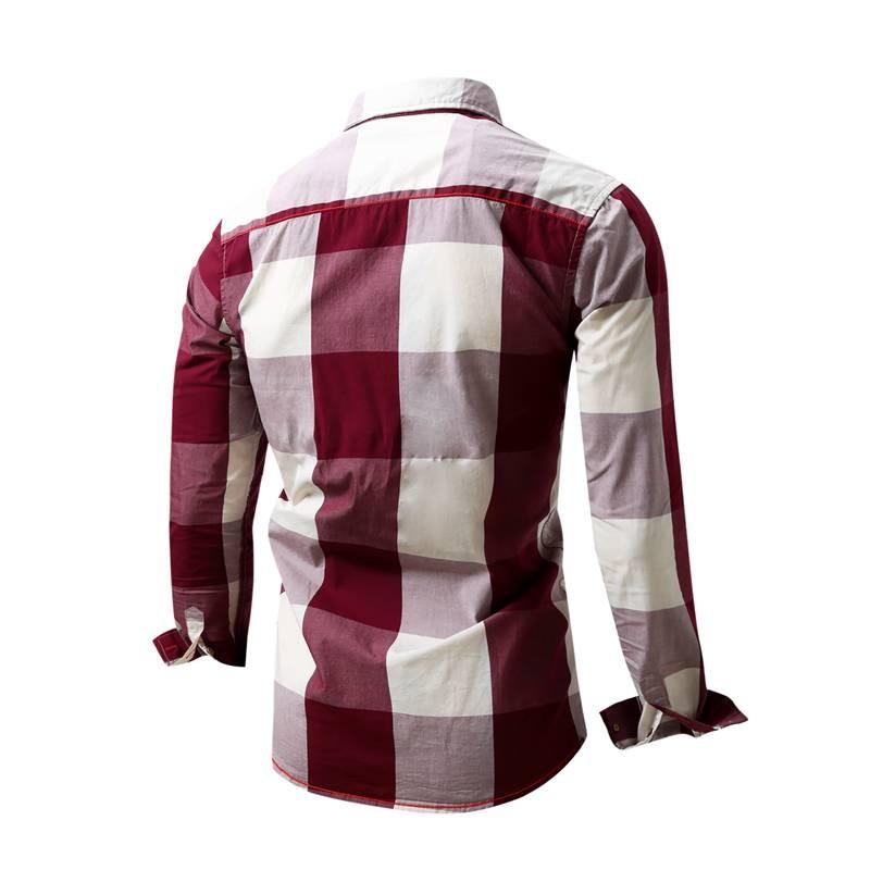 US Size Big Plaid Shirt Men\`s Long-Sleeved Shirt 100% Cotton Casual Brand Chemise Homme Fashion Business Shirts Plus Size M099 (2)