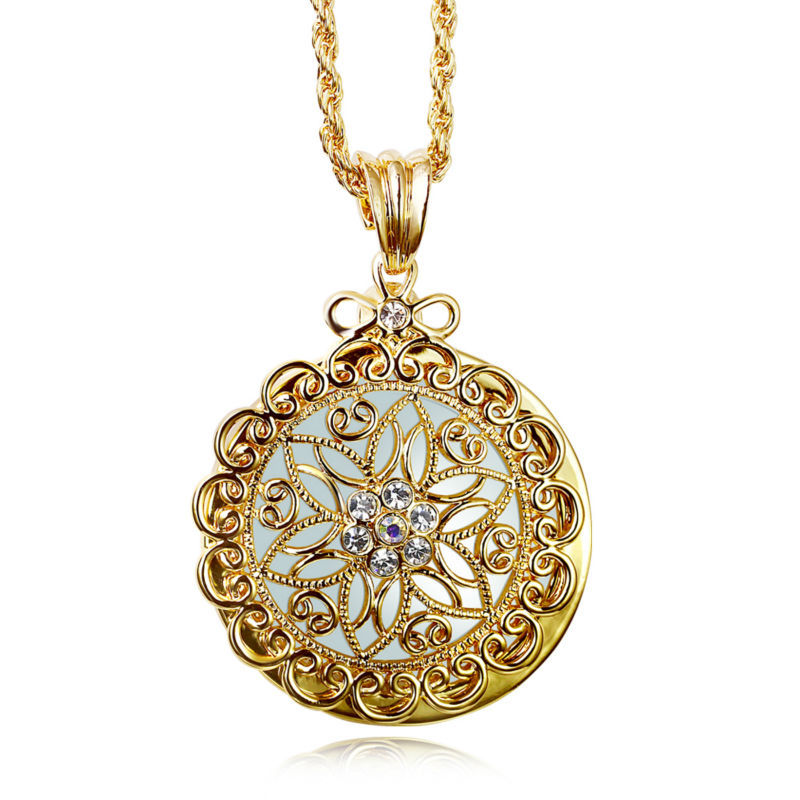 2016 New look Flower Reading Glass Crystals Neckalce 2x Magnifying Glass Pendant Fashion Look 18K Gold Plated & Platinum Plated(China (Mainland))