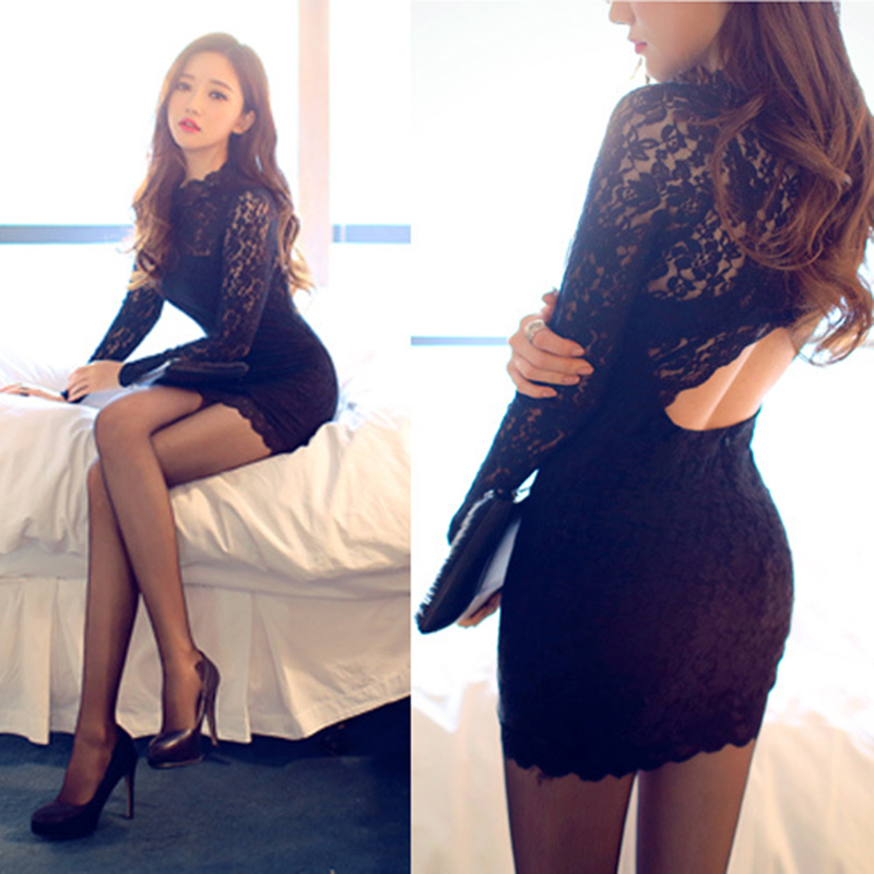Hight Quality 2016 New Fashion Women's Clothes Summer Full Sleeve Black Lace Dress Plus Size # 12943 - Shanghai Apparelshow fashion Ltd. store