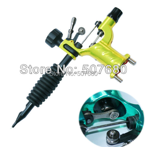 Cool Yellow Dragonfly Rotary Tattoo Machine Shader & Liner Orange Color Tatoo Motor Gun Kits Supply For Artists(China (Mainland))