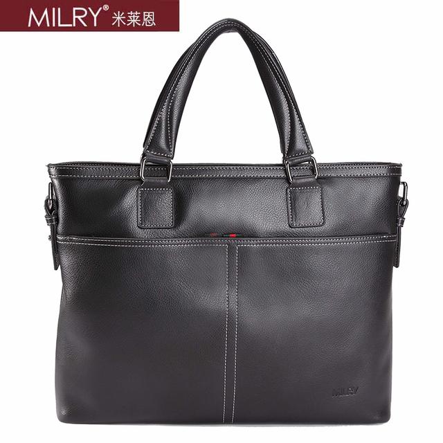Free shipping Brand MILRY 100% Genuine Leather Briefcase for men shoulder messenger Bag laptop bag cowhide handbag  CP0018-1