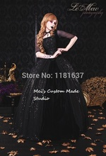 Custom Made Marie Antoinette Carriage Gothic Gown Black Lace-Up Victorian Dresses