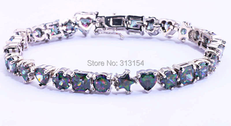 Heart &amp; Flower Square Round Five-pointed star Wholesale Women Jewelry Mystic Topaz 925 Silver Stamp Chain Bracelet 8 NB132<br><br>Aliexpress