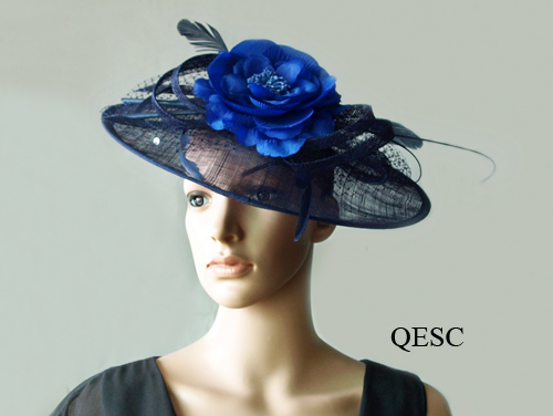 BIG saucer sinamay hat bridal fascinator w/feathers,veiling,sequin for races,wedding,Kentucky derby,Church,navy blue/royal(China (Mainland))
