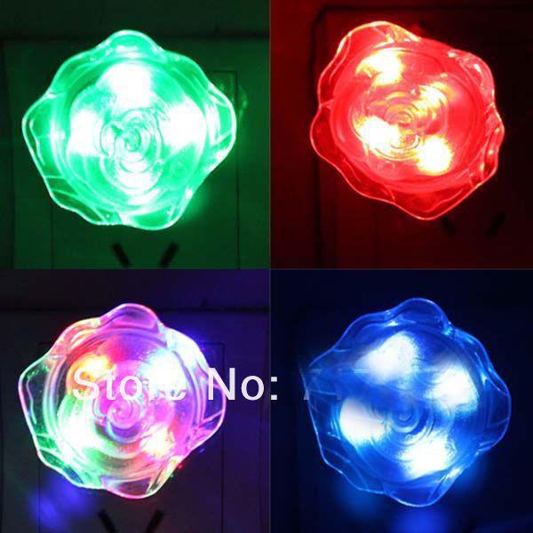 5pcs /lot LED Small Night light Rose Style lamp shape bedroom night light Lamp pink/blue/red J0621(China (Mainland))