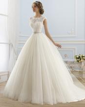 2016 Princess Wedding Dresses Jewel Appliques Beaded Tulle Bridal Gowns font b Vestidos b font font