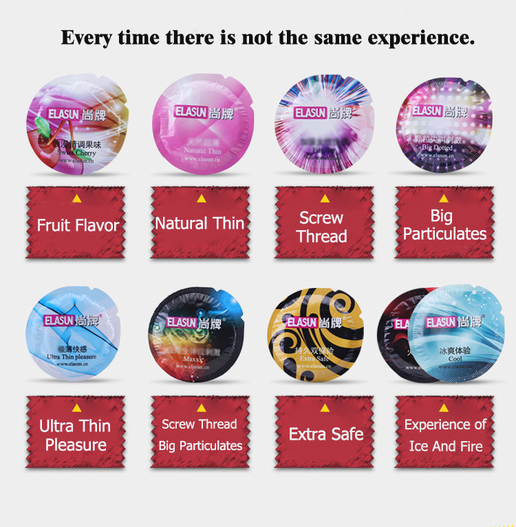 ELASUN Condoms 24 Pcs  8 Types Ultra thin Ice and Fire Dotted Natural Latex Double Lubricated  Condom Sex Toys For Men