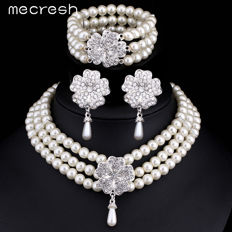 buy mecresh 3pcs set perfect round imitated pearl wedding accessories