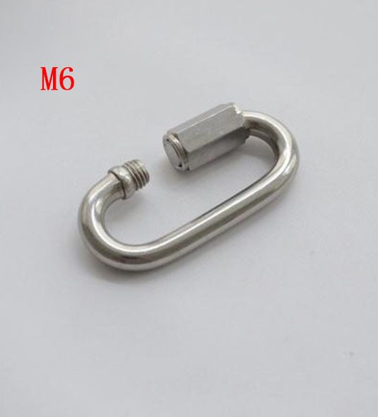 Metric M6 Stainless Steel Quick Link Screw Lock Hook With Nut, Carabiner with lock(China (Mainland))