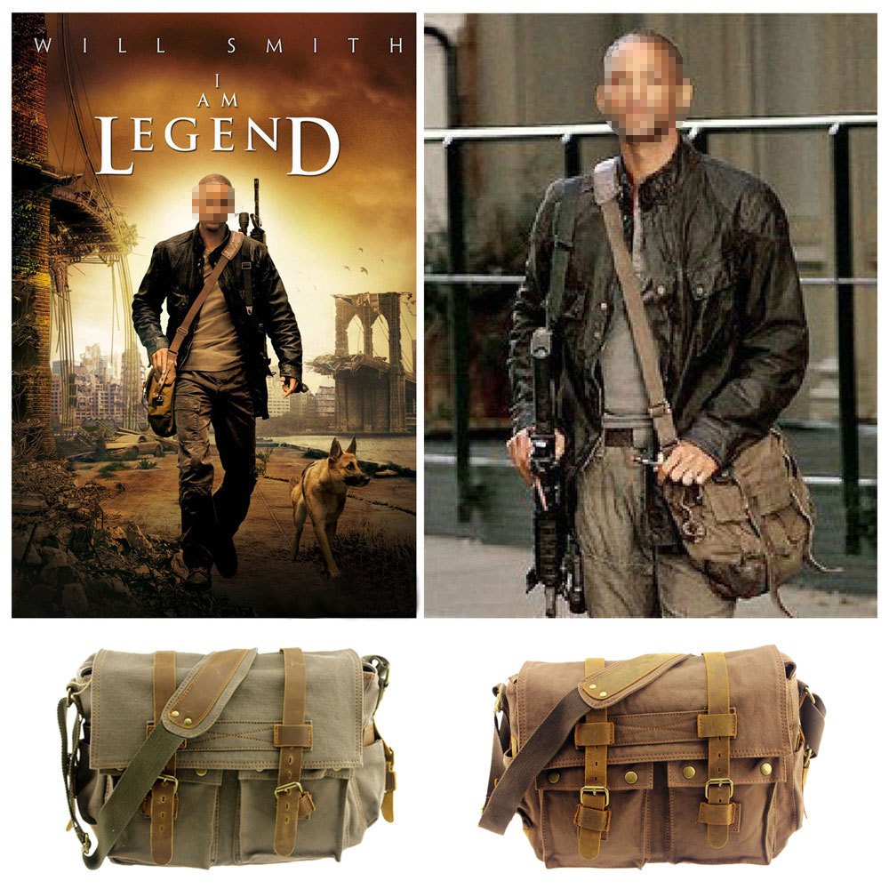 I AM LEGEND Will Smith for men messenger bags military army classic canvas&genuine leather cross body bags 14'' laptop satchel(China (Mainland))