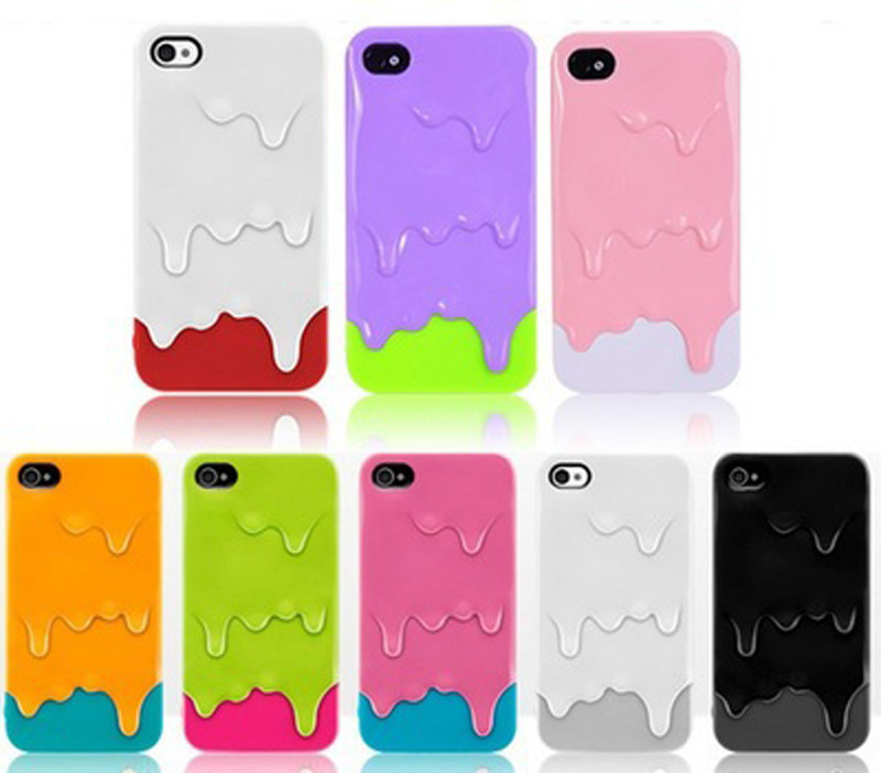 Wholesale! New Latest Design 3D Melting Melt Ice Cream Skin Hard Case Cover Phone Bag For iPhone 5 5S 5G housing(China (Mainland))