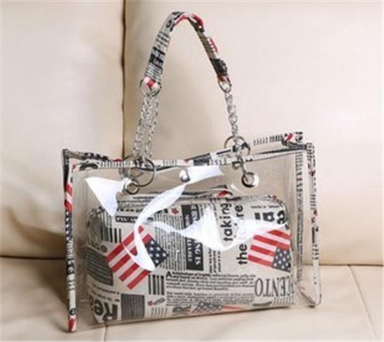 Free shipping Popular women summer handbag shoulder flag PVC clear Beach bag Transparent pvc clear handbags HMD20(China (Mainland))