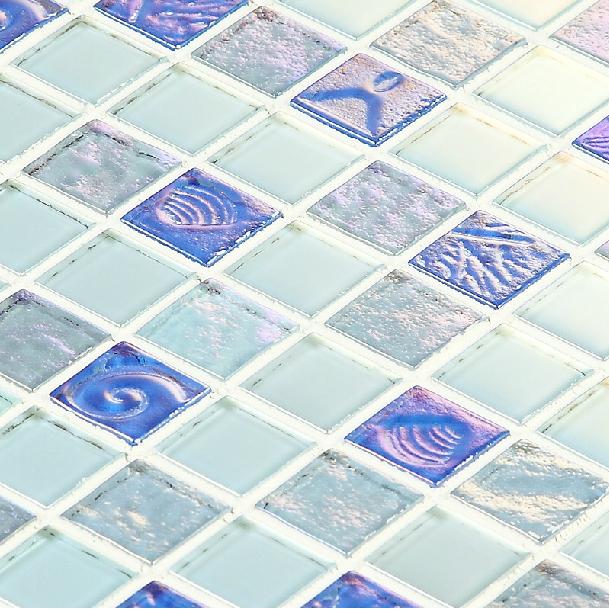 Iridescent blue glass mosaic tiles backsplash kitchen bathroom mirror wall sticker sea glass for Sea glass mosaic tile bathroom