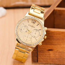 Golden Women Watches Luxury Ladies Stainless Steel Casual Quartz-Watch Women Clock Relogios Femininos hodinky dames horloges