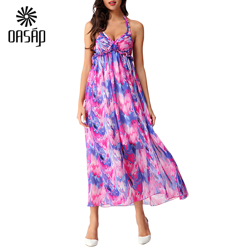 OASAP 2016 Summer latest Women's Halter Ruched Bust Open Back Printed Casual Sleeveless Beach Wear Backless Maxi Dress-102760(China (Mainland))