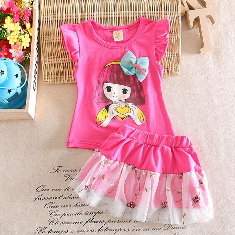 2016 Infant clothes toddler children summer baby girls clothing sets cartoon 2pcs sport suit set clothes sets girls summer set(China (Mainland))