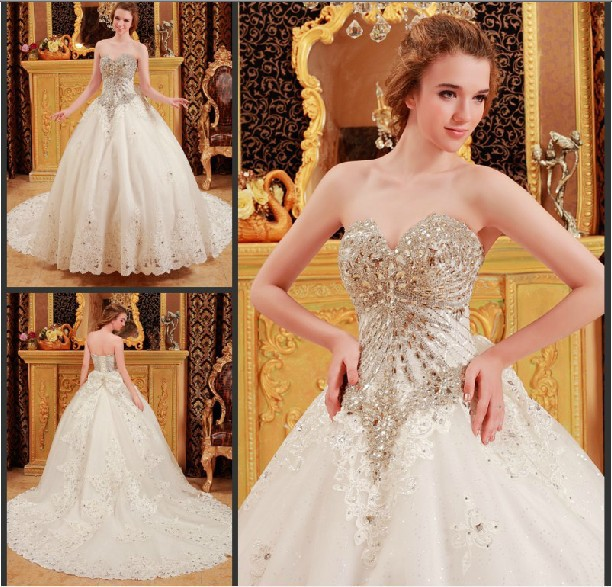 Luxury Import Crystal Diamond Ball Gown Beaded Big Train Strapless Princess Wedding Dress