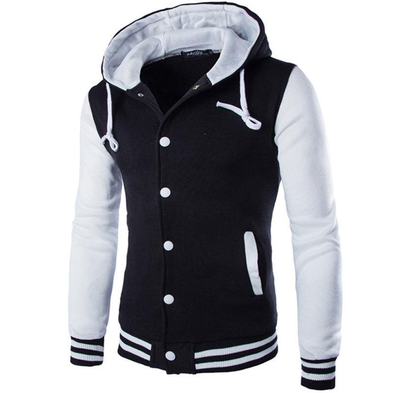 New Hooded Baseball Jacket Men 2016 Fashion Design Black Mens Slim Fit Varsity Jacket Brand Stylish College Jacekt Veste Homme(China (Mainland))