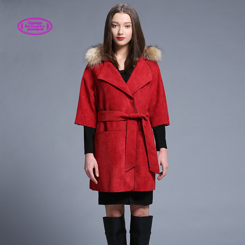 New Brand Autumn Women's Red Windbreaker Imitation Fur Collar Women Trench Fashion Mid-long Women Coat Tree Quarter Sleeve y3245(China (Mainland))