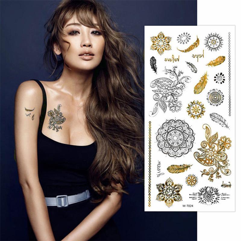 10 Sheets Tattoo Stickers Stencils Cosmetic Body Sleeve Hand Art Temporary Cool Glitter Metal Golden Tattoos MT024 - Super Wall-Mart A+ Co., Ltd store