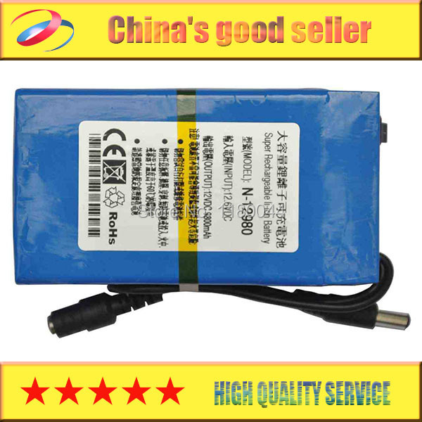 New DC 12V Portable 9800mAh Li-ion Super Rechargeable li-on Battery Pack for wireless transmitter CCTV camera blue(China (Mainland))