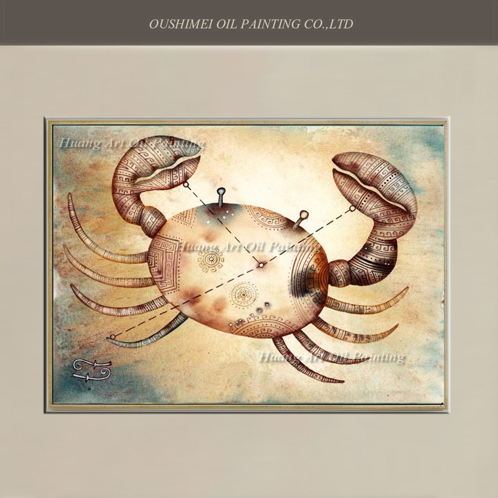 Artist Created Handmade Artwork Greek Mythology For Wall Decoration Pure Hand-painted Zodiac Cancer Oil Painting On Canvas Crab(China (Mainland))