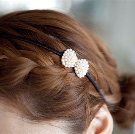 1 Pcs New Fashion Beautiful White Pearl Bow ties Hair Bands headbands for Women Hair Accessories(China (Mainland))