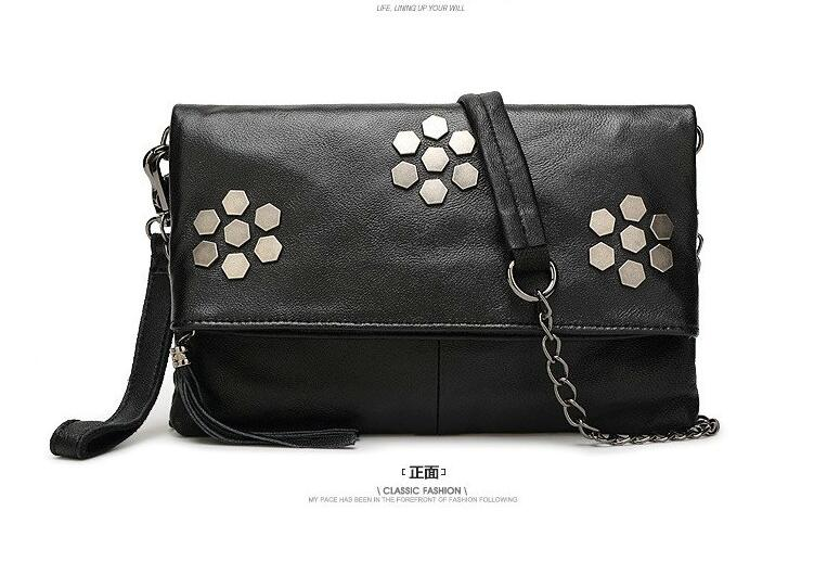 2016 genuine leather cowhide flower small bag rivet day clutch chain bag cross-body bag mobile phone women's bag first layer()