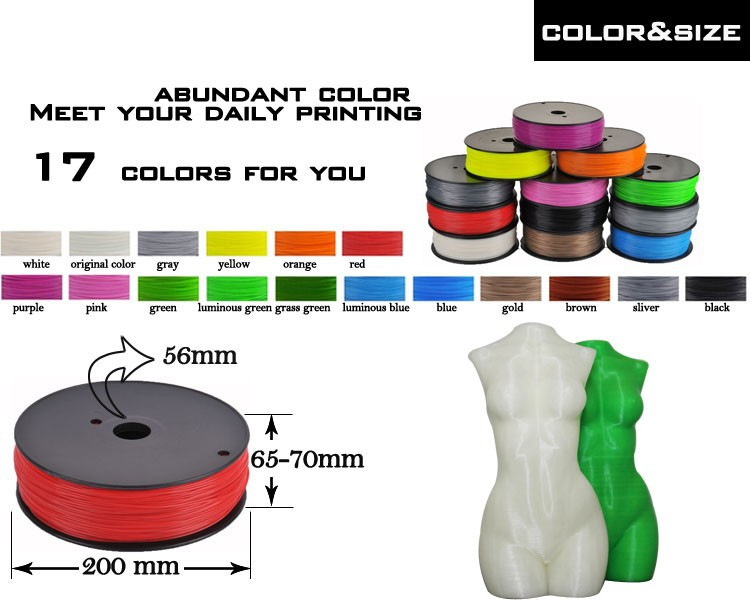 China aliexpress abs 1.75mm/3mm 3d filament 3d printer kit glow in dark color 3d printer extruder for createbot,makerbot,reprap