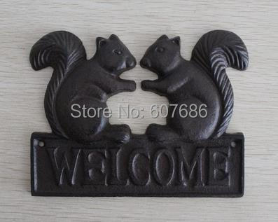 3 Pieces Cast Iron WELCOME Plaque Squirrel Rural Metal Hanging Wall Door Art for Shop Store Bar Restaurant Home Free Shipping