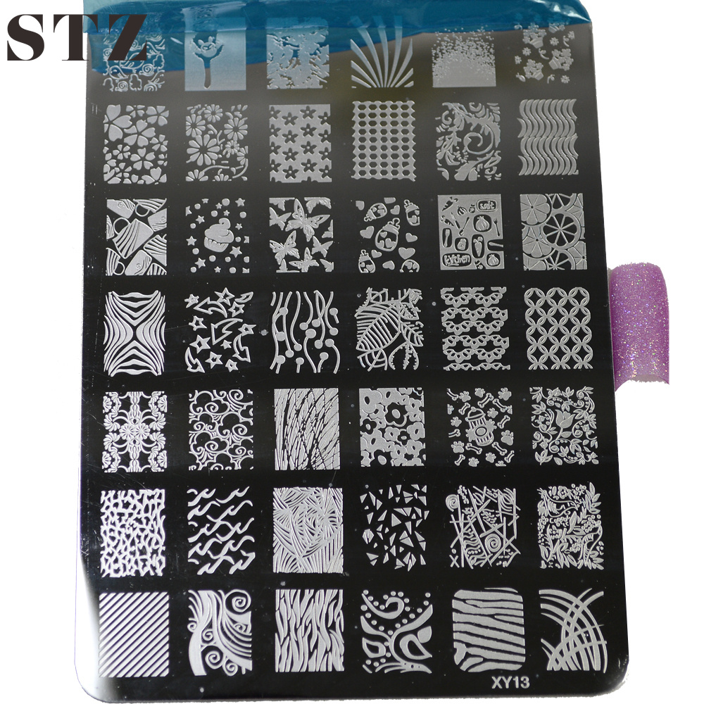 New Stamping 20Styles Nail Art Templates Fashion Lace Flower DIY Stencil Stamp Plates Polish Image Painting Tools NAO17 - STZ store
