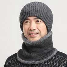 The elderly wool knitted hat scarf muffler set male winter cap male neck protection knitted hat new brand warm knit beanies(China (Mainland))