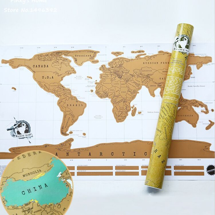 World Scratch Map Around the world map wall poster home decor Travel map rec