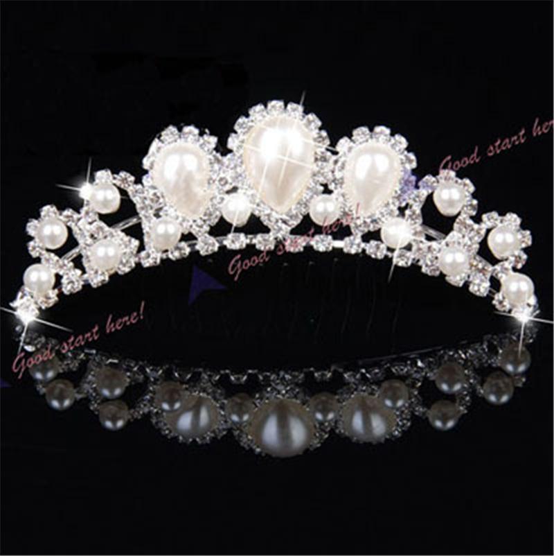 Elegant Imitation Pearl Rhinestone inlay Bridal Crown Tiara Wedding Bride Hair Jewelry Comb