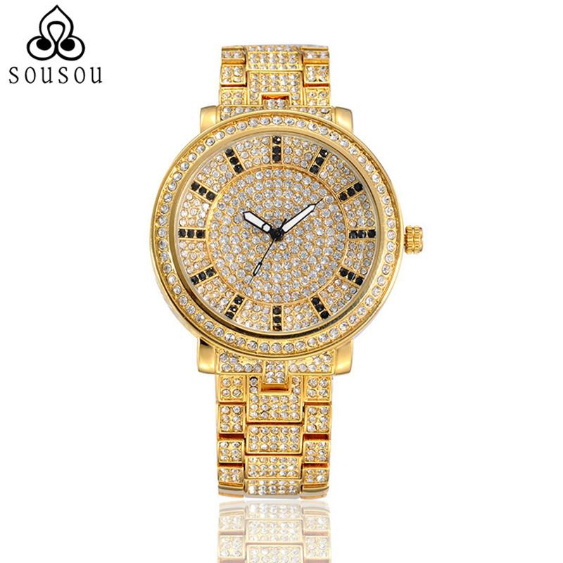 SOUSOU Quartz Wristwatches Crystal Diamond Stars Quality Dress Gold Luxury Watch Women Ladies Quartz Watches Relogio Feminino(China (Mainland))