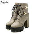 Gdgydh Spring Autumn Lace Up Women Boots High Heels Shoes Fashion Platform Square Heels Black Buckle