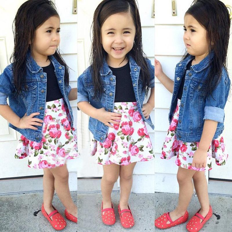 Trendy girls clothing set 2pc set (denim coat+floral dress) fashion summer outfit for girls DS5(China (Mainland))
