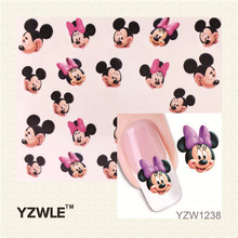 YZWLE Hot Sale 1 Sheet Water Transfer Nail Art Stickers Decal Elegant Light Blue Peony Flowers Design French Manicure Tools(China (Mainland))