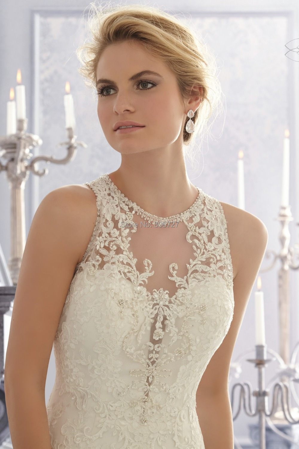 Crystal beads lace applique mermaid lace wedding dress patterns
