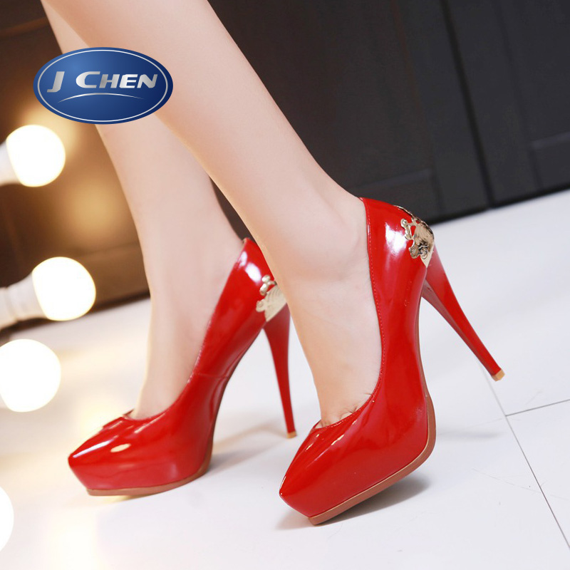Free shipping 2016 spring new thin high heels shoes glitter Decoration pumps big size 32 33 40 41 42 43 red wedding shoes<br><br>Aliexpress