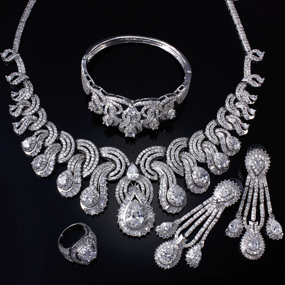 Cubic Zirconia Jewelry Sets : Clear cubic zirconia jewelry sets luxury pcs include