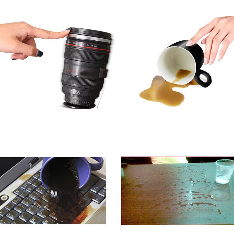 1Pcs Camera Lens Cup 24-105mm 1:1 Scale Special Present Plastic Milk Beer Coffee Tea Mug Cup 300ML Creative Cups Sucking base(China (Mainland))